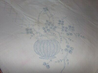 Vintage Printed Design Tablecloth To Embroider Pot Of Flowers  Floral