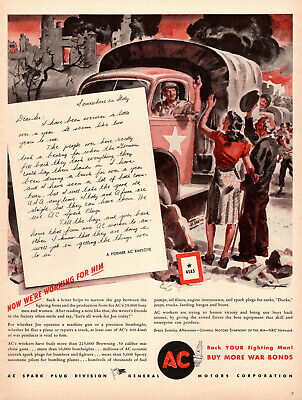 1943 WW2 autoparts AD AC SPARK PLUGS , ART Truck convoy in Italy  051519