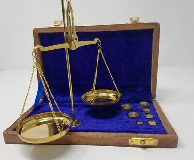 Buddha4all Vintage Apothecary Scale - Small Brass Weight Scale with Wooden Box
