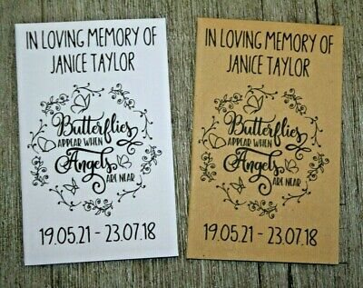 50 Personalised Funeral Seed Packets Favours Forget Me Not Remembrance Butterfly
