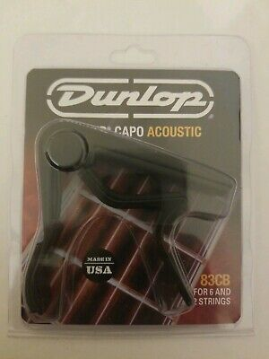 New Dunlop 83CB Curved Trigger Capo for 6- & 12-String Acoustic Guitar, Black