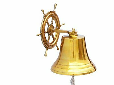 Buddha4all Solid Brass Ship Bell Wall Mountable Hanging Ship Wheel Bell Wheel