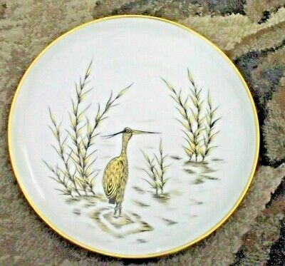 Wall  Plate Kunst Bavaria floral gold rimmed with crane in water