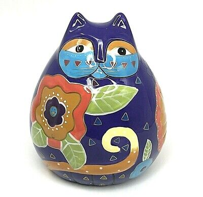 LAUREL BURCH Cat Coin Piggy Bank Signed Hand Painted Purple Multi-Color Gift