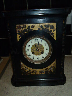 Antique Japy Freres Wooden Case French Mantel Clock