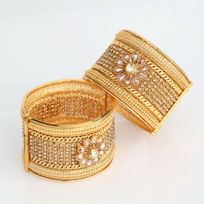 18k Gold Plated Fashion Bangle Bracelet Open Screw Bangles Set Of 2 Ethnic Style Jewelry & Watches