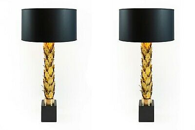 Pair of vintage french table lamps in brass, in Maison Jansen style