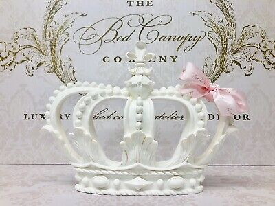 White Princess Bed Crown Canopy With White Drapes