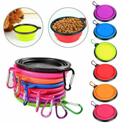 Portable Foldable Silicone Dog  CAT Bowl Travel Pet Feeding Drinking Food NEW