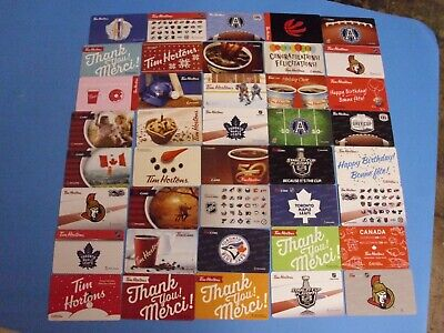 Lot Of 40 Tim Hortons Gift Cards Card No $ Value All Different