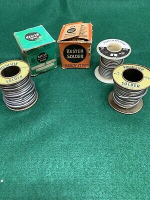Vintage Lot Solder New And Partial Used Wire Spools Kester + Rochester Plus