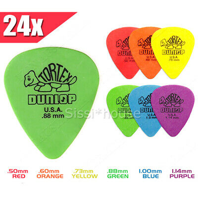 24Pcs Dunlop Tortex Standard Plectrums Mixed Pro Gauges Guitar Picks OZ