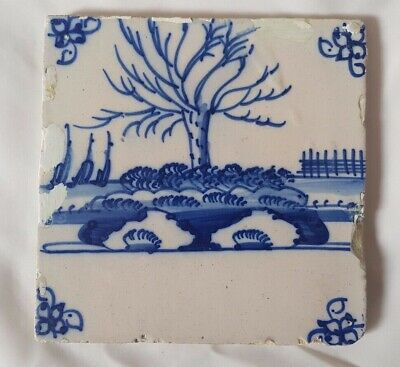 Delft Tree In The Landscape Design Tile Probably 18Th Century 12.5 Cm