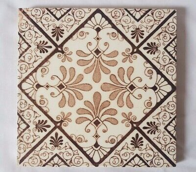 CHARMING english SYMMETRICAL DESIGN FLORAL 6 INCH 19TH CENTURY TILE
