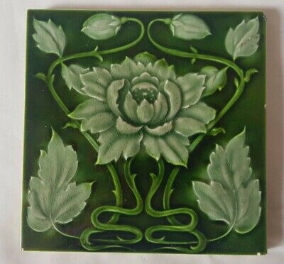 STUNNING art nouveau MAJOLICA FLORAL DESIGN 6 INCH ENGLISH TILE