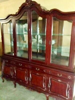 Antique French Style Ornately Carved Mahogany Display Cabinet  Buffet Hutch