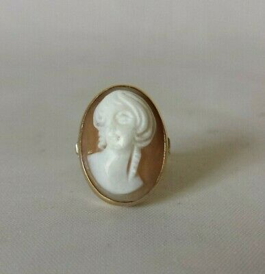 Vintage 14k Yellow Gold Carved Shell Cameo Ring Sz 6.5 Estate Find