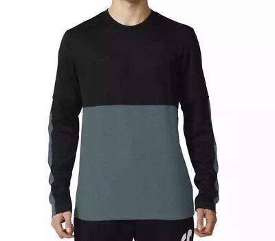 adidas Men's Athlete 1 ID Long Sleeve Crew Neck Climalite Black/Teal 2XL