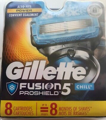 Gillette FUSION5 PROSHIELD CHILL~8 Cartridges~AUTHENTIC~made in USA