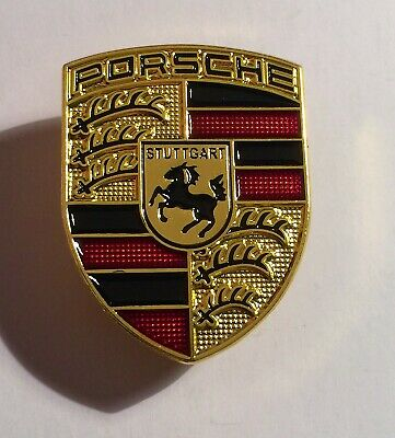 Porsche (Stuttgart) Gold Shield Badge, Hat Pin, Lapel Pin, 2 clutches, Gift