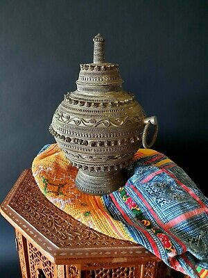 Old Yemini Silver Filigreed Lidded Container / Urn …beautiful collection & displ