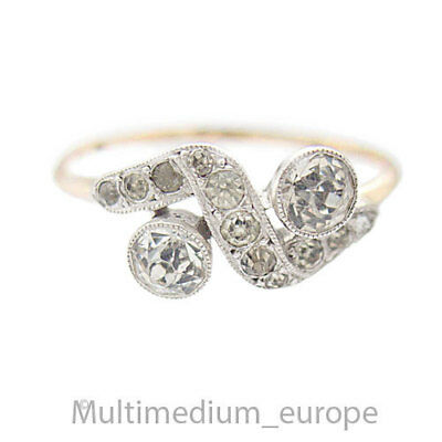 Antiker Jugendstil Silber Strass Ring 375 9ct Gold silver ring paste 🌺🌺🌺🌺🌺