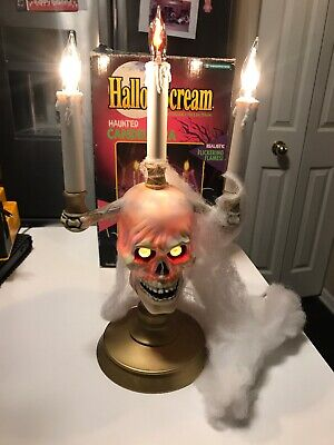 1994 HALLOW SCREAM HAUNTED CANDELABRA FLICKERING FLAMES RED GLOWING EYES Box