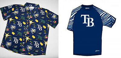 Tampa Bay Rays Hawaiian & Zubaz SGA Shirts sz XL You Get BOTH! FREE SHIPPING!