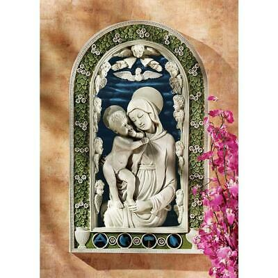 "19""  Mary And Jesus Wall Sculpture Statue Inspired By Andrea Della Robbia"