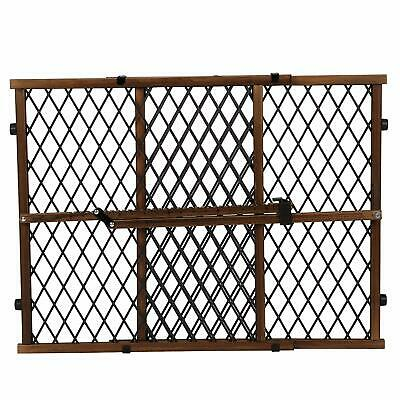 Baby Pet Gate Extra Wide Dark Wood Expanable Door Tall Infant Child Kid Safety
