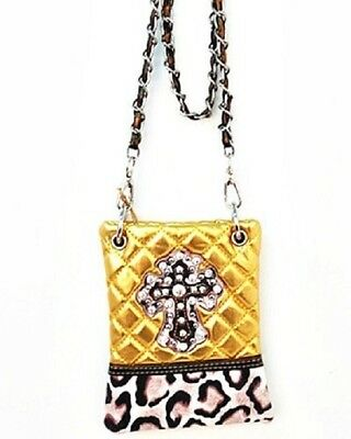 GOLD METALLIC LEOPARD STUDDED RHINESTONE CROSS LOOK MESSENGER BAG CROSS BODY NEW