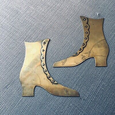 Pair Stunning Antique Victorian Brass Decorative Boots/Shoes - Large