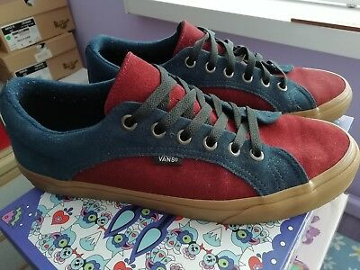 7177fea653948 VANS LAMPIN NAVY blue red burgandy suede like skate lace up trainer UK 10!