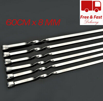 Long Metal Bbq Barbecue Kebab Food Meat Grill Sticks Skewers Cooking 60Cm Long