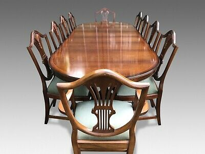 9ft Harrods Designer George III style mahogany dining set, Pro French polished