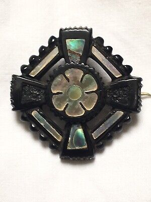 Antique Victorian Whitby Jet and Mother of Pearl Detailed brooch 3.6cm