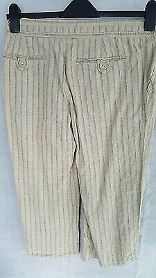 Saviour Linen mix Beige Striped Cropped Trousers Womens Girls Size 10S 32W/19L