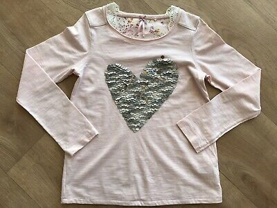 Next Girls Kids Heart Silver Gold Sequin TShirt Top Peach Pink Size Age 10 Years