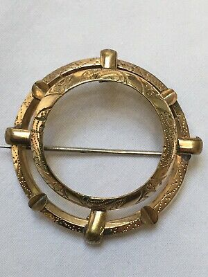 Antique Georgian To Victorian brass Or Pinchbeck brooch 4.2cm Scarf Ring Frame