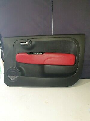 Fiat 500 Abarth red Leather Driver Door Card