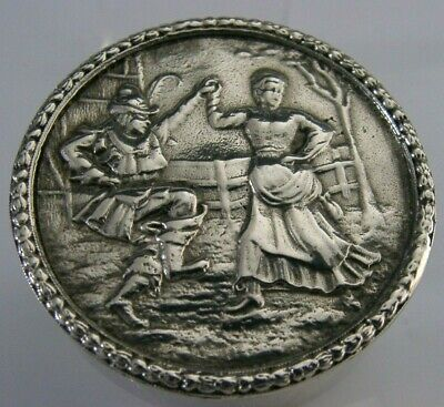 QUALITY ENGLISH SOLID STERLING SILVER SNUFF or PILL BOX 2000