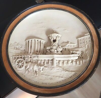 Large Antique Italian 2D Earthenware Wall Plaque ROMA JM 5132 Hand Painted