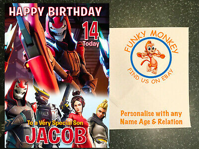 new FORTNITE PERSONALISED BIRTHDAY CARD ANY NAME AGE RELATION