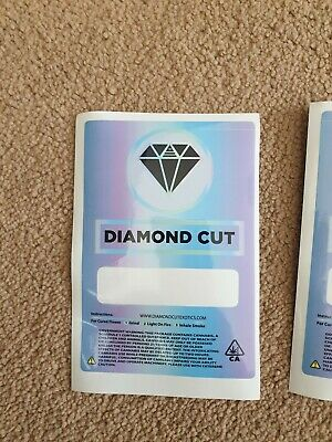 100x Diamond Cut Exotics Mylar Bag LABELS ONLY (3.5g) Cali Tin