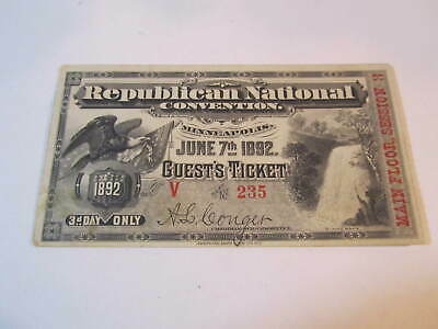 1892 Republican National Convention GUEST'S TICKET Minneapolis, MAIN FLOOR,