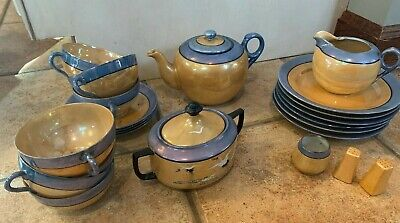 Vintage Japan Tea 22 Set Creamer Sugar Teapot Cup Saucer Blue Orange Lusterware