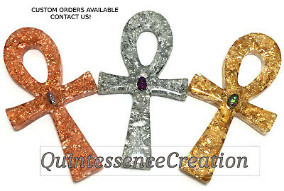 ONE Metal Foil ANKH Rose Gold Silver made w/ Swarovski Crystal Scarab wall gift