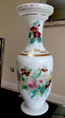 Genuine Antique Victorian Opaline Large Hand Painted French Glass Floral Vase