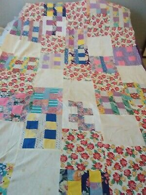 Early vintage Feed Flour sack Cotton Quilt Top Hand Stitched Floral Prints