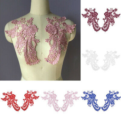 Pair Applique Lace Trim Embroidery Sewing on Patch DIY Wedding Bridal Crafts